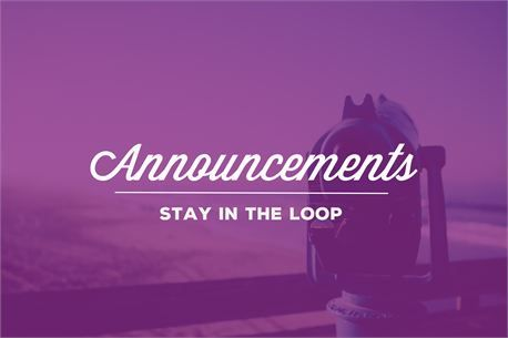 04/28/19 ANNOUNCEMENTS